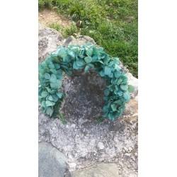 Corona de hortensias preservadas. Color verde oliva.